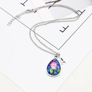 Beauty & The Beast Rose Cabochon Pendant Necklace